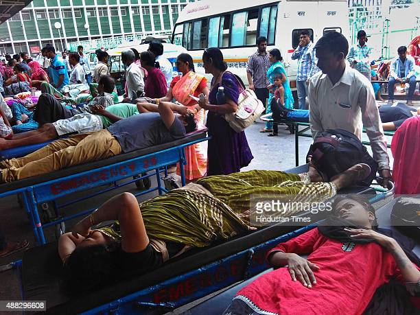 A view of a long queue of patients wait outside AIIMS hospital's emergency wards as cases of dengue patients continue to rise on September 15 2015 in...