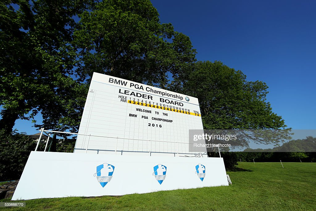 A view of a main scoreboard welcoming fans to the venue during a practise round for the BMW PGA Championship at Wentworth on May 24, 2016 in Virginia Water, England.