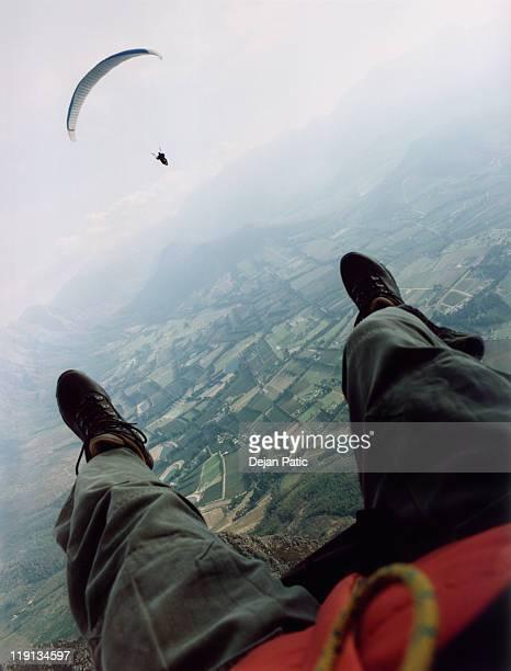 View of a man parasailing