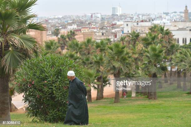 A view of a man walking near Rabat's Kasbah of the Udaya On Friday June 30 in Rabat Morocco