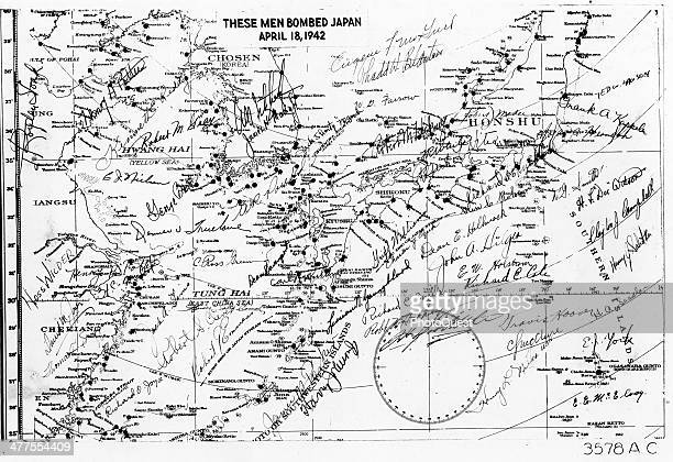 View of a map signed by the men who bombed Tokyo Japan in the famous Doolittle Raid April 18 1942