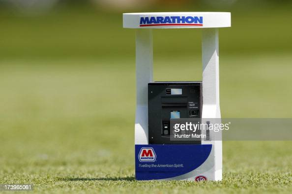 A view of a Marathon gas pump tee marker on the 17th hole during round one of the Marathon Classic presented by Owens Corning OI at Highland Meadows...