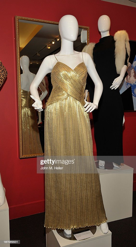 A view of a Marilyn Monroe inspired Traivilla gown at the press preview for Icons & Idols Fashion and Hollywood Exhibit at Julien's Auctions Gallery on November 5, 2013 in Los Angeles, California.