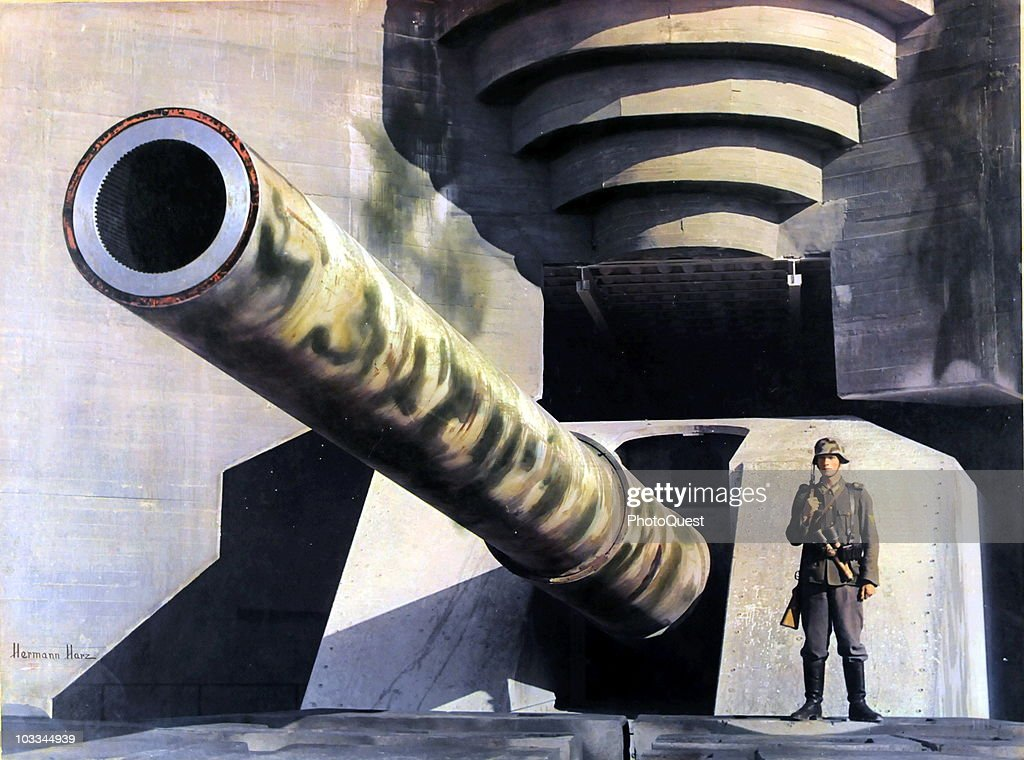 View of a massive piece of German coatal artillery in a concrete casement on the Atlantic Wall, France, early 1940s.
