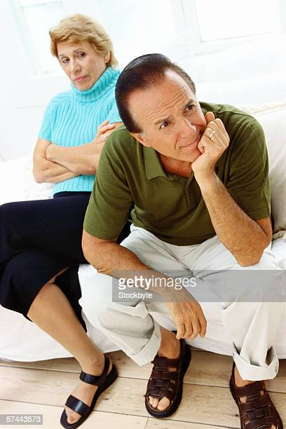 view of a mature couple upset with each other
