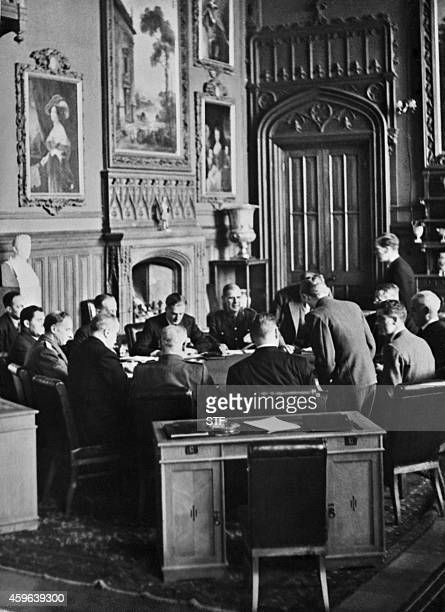 View of a meeting at the start of the Conference of the Allied powers in Yalta Crimea on February 4 1945 at the end of World War II During the Yalta...
