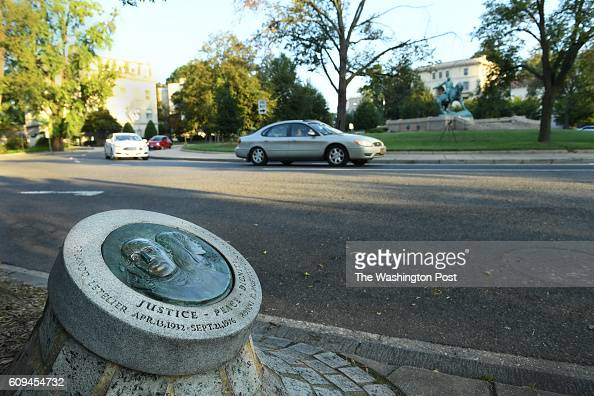 View of a memorial to Orlando Letelier and his colleague Ronni Moffitt who were killed at this very spot by a car bomb in 1976 in Washington DC on...