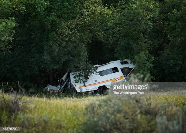 View of a meth lab motor home which rolled down a ravine while being busted on the Fort Berthold Indian Reservation in New Town ND on August 14 2014...