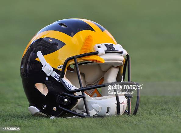 View of a Michigan Wolverines football helmet before their game against the Utah Utes at RiceEccles Stadium on September 3 2015 in Salt Lake City Utah