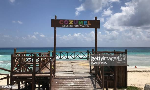View of a mirador on a beach of cozumel island in Quintana Roo state Mexico on March 28 2017 Located in the Mexican Caribbean Cozumel is an island...