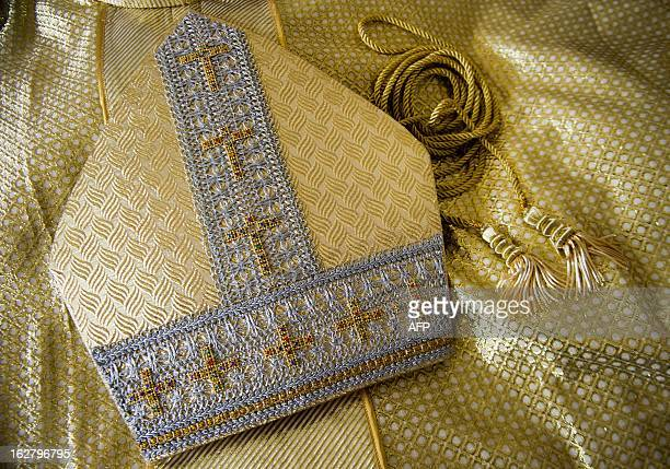 View of a miter made by Colombian tailor Luis Abel Delgado to be used by the new Pope on February 27 in Cali department of Valle del Cauca Colombia...