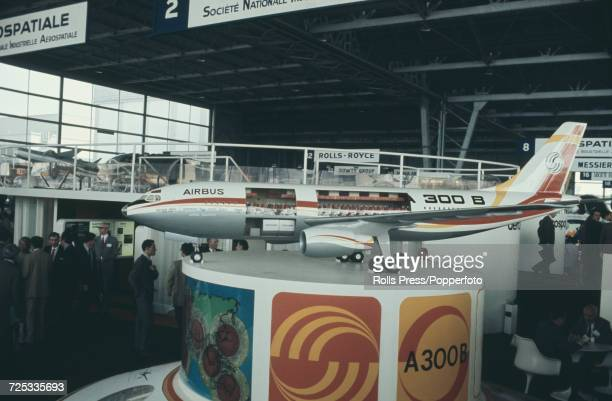 View of a model of the soon to be launched Airbus A300 medium range wide body twin engine jet airliner on display in a hanger at Le Bourget Airport...