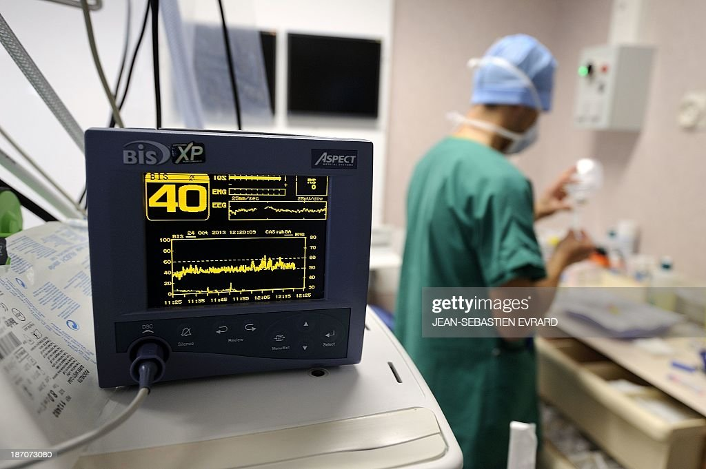 A view of a monitor during an openheart surgery in a cardiac surgery unit at the CHU Angers teaching hospital in Angers western France on October 24...