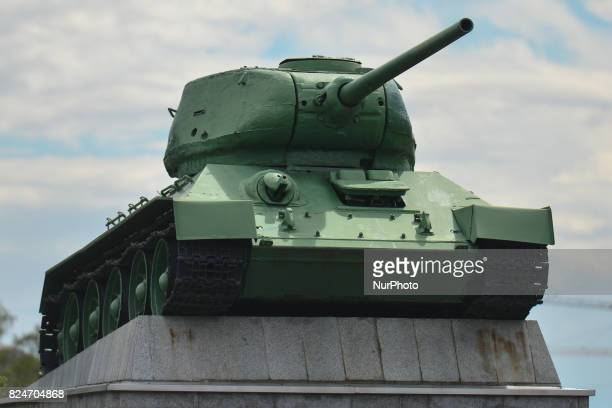 A view of a monument with one of four tanks used during the fighting by the 6th Army at the Ukrainian Front located at the entrance gate to the...