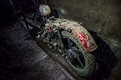 View of a motorcycle adapted to a rail used by Mexican drug trafficker Joaquin 'El Chapo' Guzman to move through a tunnel through which according to...