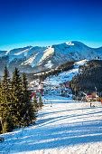 View of a mountain slope in winter season, Romania