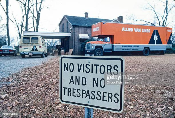 View of a moving truck parked outside of Lillian Carter's home Plains Georgia January 1981 The truck transported the personal effects of former US...
