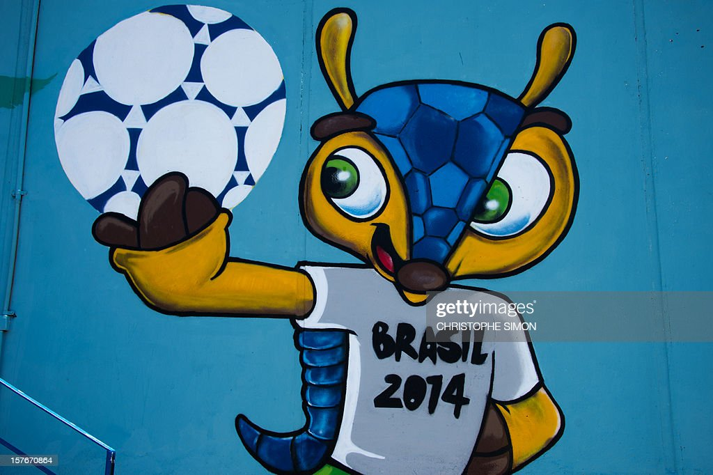 View of a mural depicting 'Fuleco', the mascot of the Brazil 2014 FIFA World Cup, at the Maracana tube station, next to the Maracana stadium under works, in Rio de Janeiro, Brazil on December 5, 2012.
