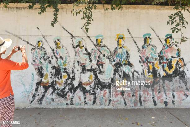 A view of a mural in Sale city center On Friday June 30 in Rabat Morocco