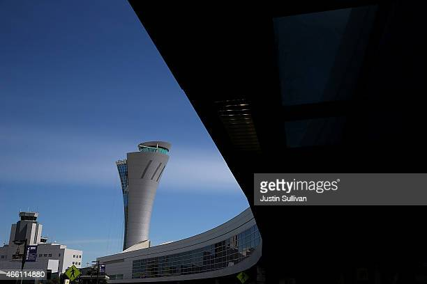 A view of a new control tower that is under construction at San Francisco International Airport on March 13 2015 in San Francisco California...