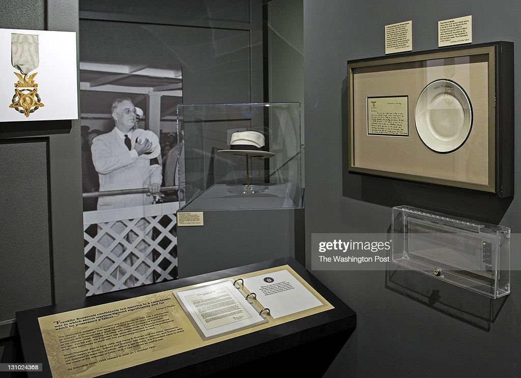 A view of a new exhibit dedicated to the OSS featuring a letter on Hitler's stationary written by Richard Helms to his son upper right has opened at...