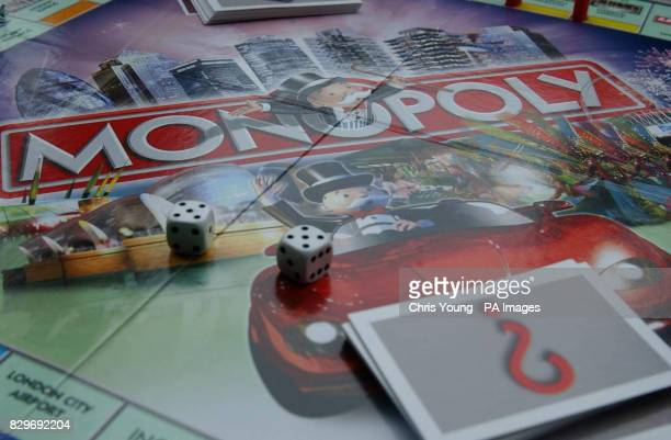 A view of a new Monopoly board at an event to to mark the game's 70th anniversary
