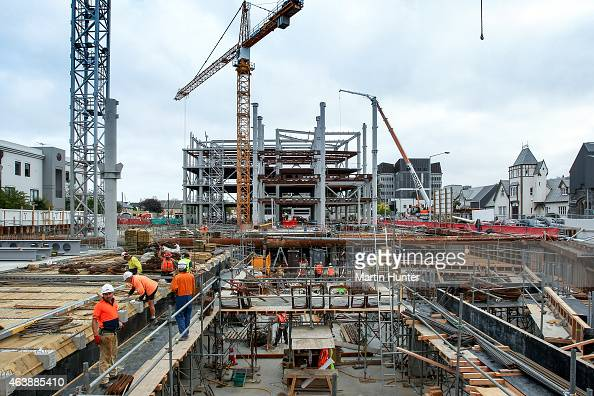 A view of a new multi story building site on Durham Street on February 20 2015 in Christchurch New Zealand Buildings and parks in the Christchurch...