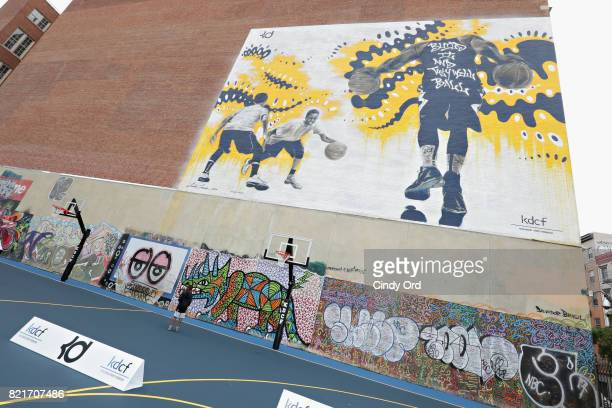 A view of a new mural during the KD Build It and They Will Ball court ceremony on July 24 2017 in New York City