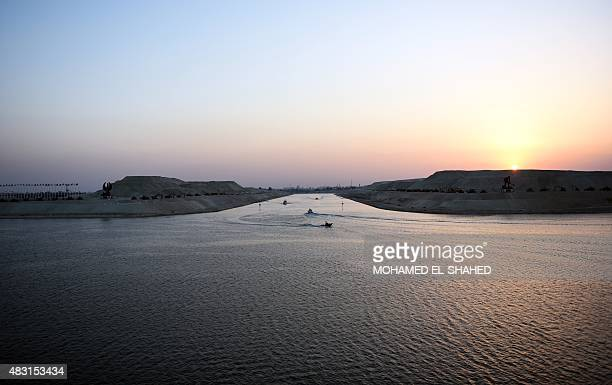 A view of a new waterway at the Suez Canal during its opening ceremony on August 6 in the port city of Ismailiya Egyptian President Abdel Fattah...