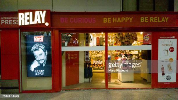 A view of a newspaper kiosk at Gare du Nord station after singer Johnny Hallyday's death on December 11 2017 in Paris France Johnny Hallyday died...