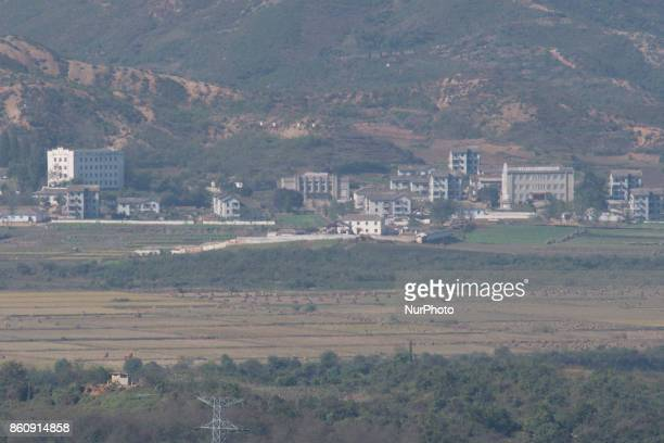 View of a North Korean propaganda village from Dora Observatory near the Demilitarized Zone dividing two Koreas October 13 2017