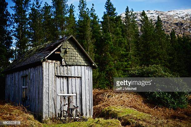 A view of a old bicycle and shed in Glen Etive near to Glen Coe on March 24 2014 in Glen Coe Scotland A referendum on whether Scotland should be an...