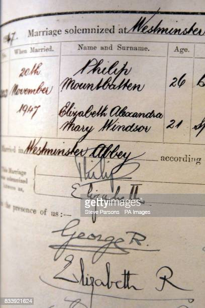 View of a page from the book of register showing the wedding of Princess Elizabeth now Queen and Lieutenant Philip Mountbatten now the Duke of...