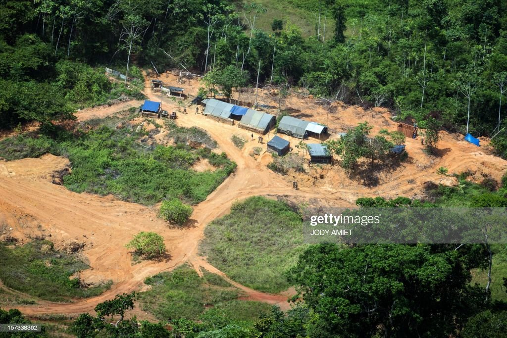 A view of a part of the Dorlin military camp and its surroundings, located near a gold mining site, on December 1, 2012. Le Drian was in French Guyana to pay homage to two soldiers killed in the area by illegal gold miners on June 27, 2012.