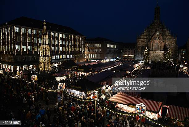 A view of a part of the traditional Christmas Market in Nuremberg southern Germany on November 29 2013 The traditional 'Nuernberger...