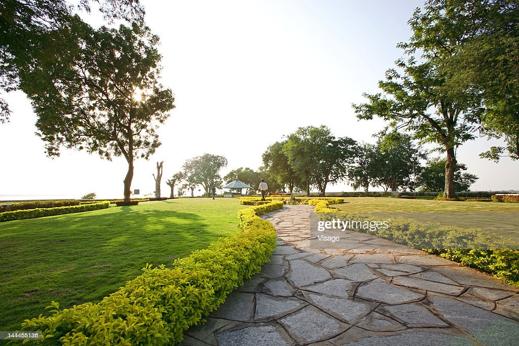 View of a pathway in a park : Stock Photo