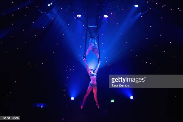 View of a performance during Los Angeles Opening Night Performance Of 'Absinthe' at LA Live Event Deck on March 23 2017 in Los Angeles California