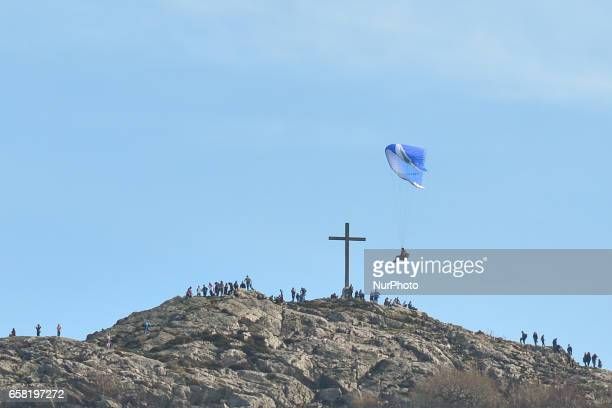A view of a person practicing Paragliding near the Bray Head On Sunday March 26 in Bray Ireland