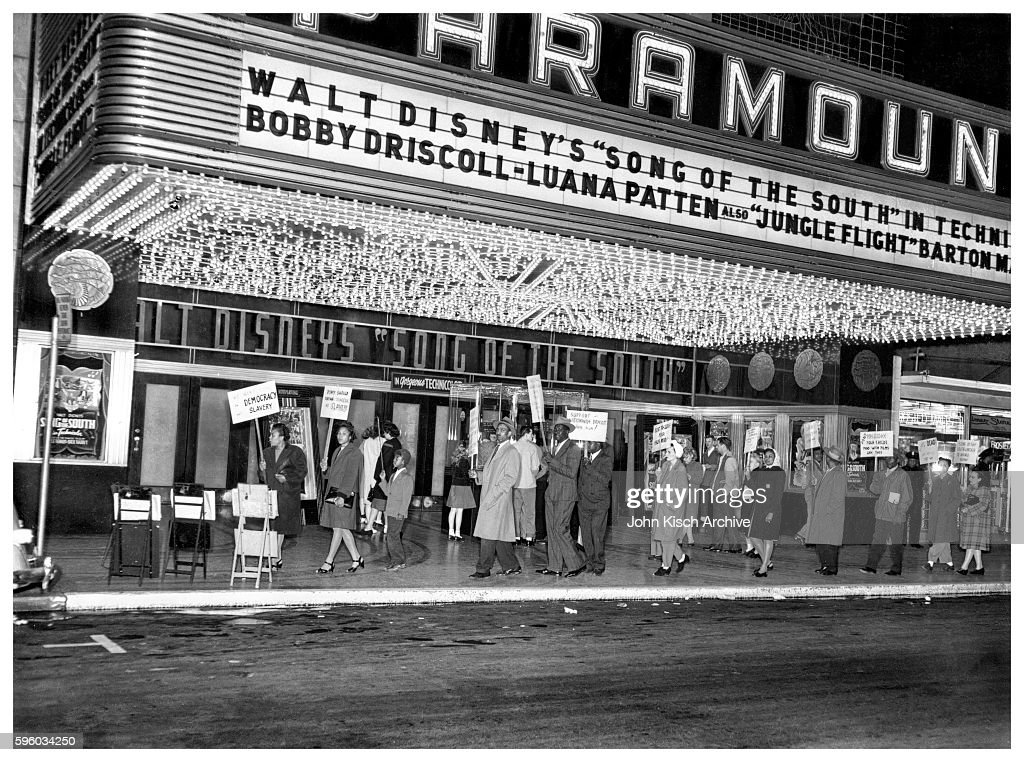 View of a picket line outside the Paramount Theater which was showing 'Song of the South' 1946