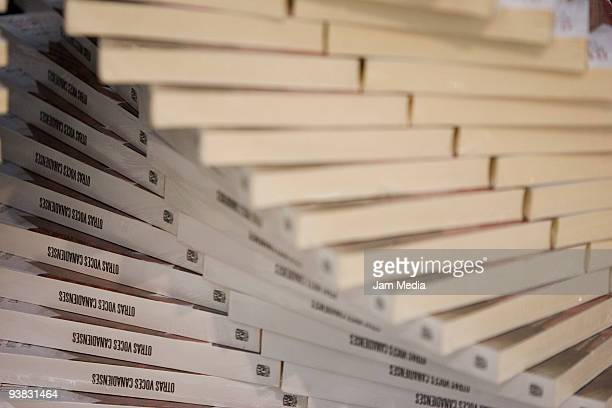View of a pile of books during the Guadalajara International Book Fair 2009 at the Expo Guadalajara on December 3 2009 in Guadalajara Mexico