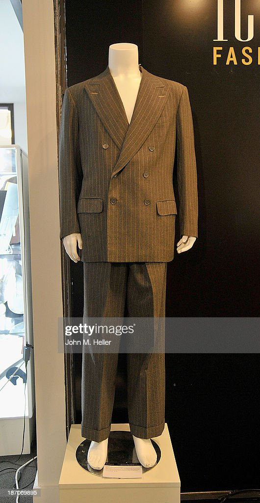 A view of a pinstripe Suit worn by actor Clark Gable at the press preview for Icons & Idols Fashion and Hollywood Exhibit at Julien's Auctions Gallery on November 5, 2013 in Los Angeles, California.