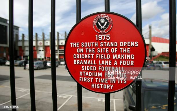 A view of a plaque commemorating the opening of the South Stand