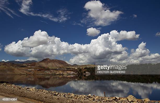 View of a pool of water with sulfuric acid that is used to extract copper stones inside the 'Buena Vista' copper mine in Cananea community Sonora...