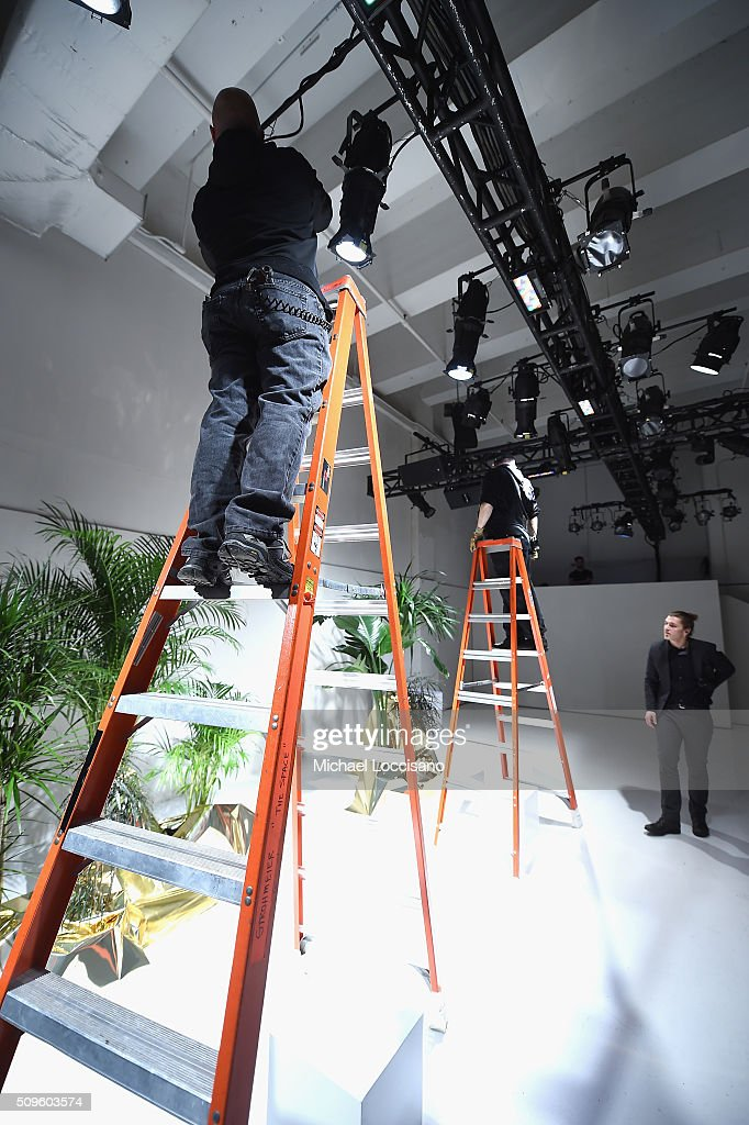 A view of a preshow preparations for Jay Godfrey Fall 2016 Presentation during Fall 2016 New York Fashion Week at the Skylight at Clarkson sq on February 11, 2016 in New York City.