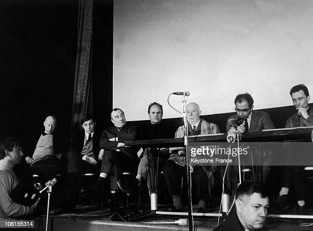 View of a press conference held by film directors defending Henri Langlois' reintegration as head of the French Cinematheque in Paris France in...