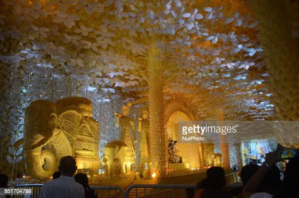 View of a Puja pandal or a temporary platforms for the upcoming Durga Puja Festival in Kolkata India on Friday 22nd September 2017 Durga Puja...