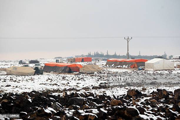 View of a random Syrian refugees camp around the biggest camp of Zaatari in northeast Jordan during an extreme cold weather near the town of Zamla...