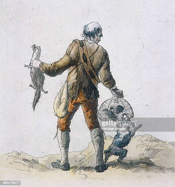 View of a rat catcher holding a cage of rats which is being attacked by a dog In his other hand he holds a ferret which he no doubt used to catch the...
