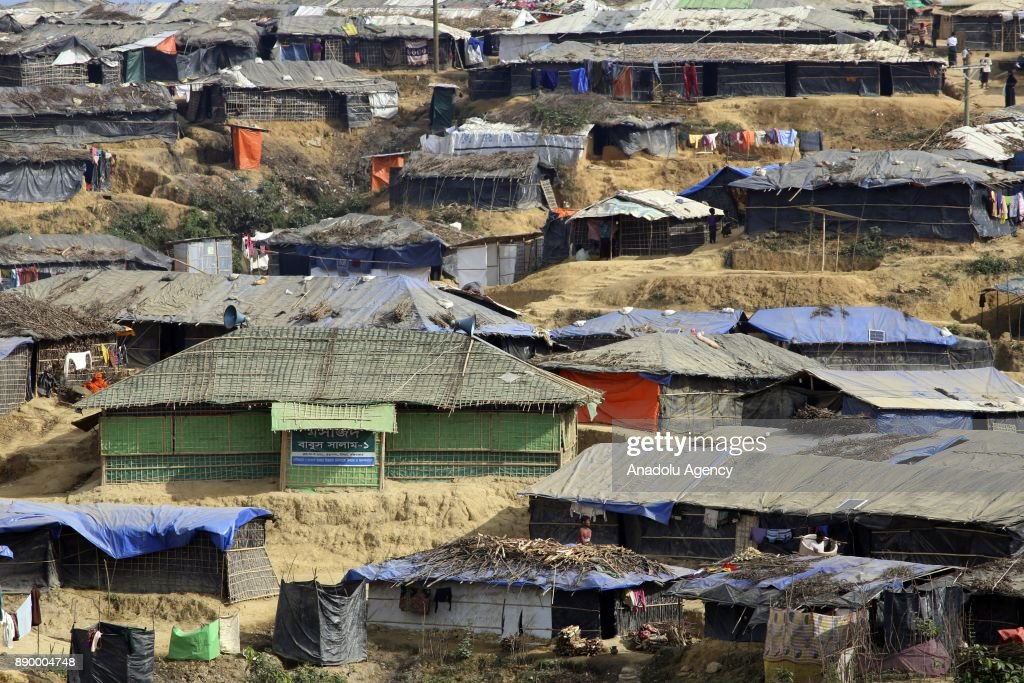 Rohingya people living in bamboo shelters in Bangladesh