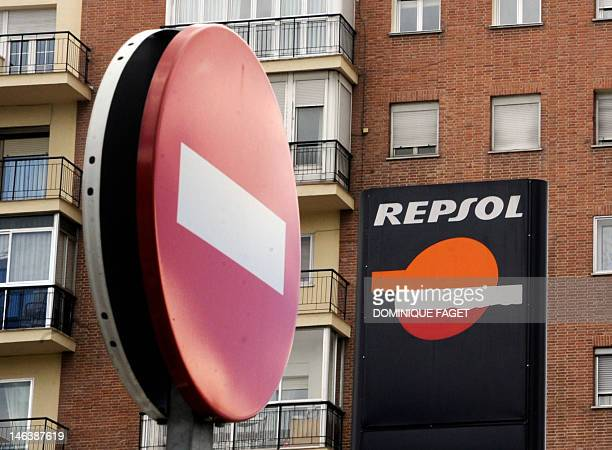 View of a Repsol gas station taken in Madrid on April 13 2012 Spain summoned Argentina's ambassador to raise concerns at reports that Buenos Aires is...